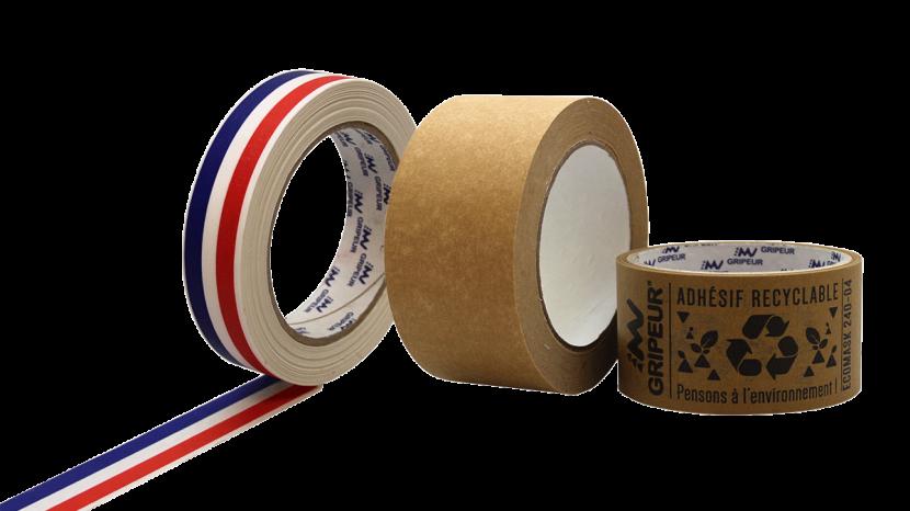 Rouleau adhésif papier écologique et recyclable imprimé ou neutre