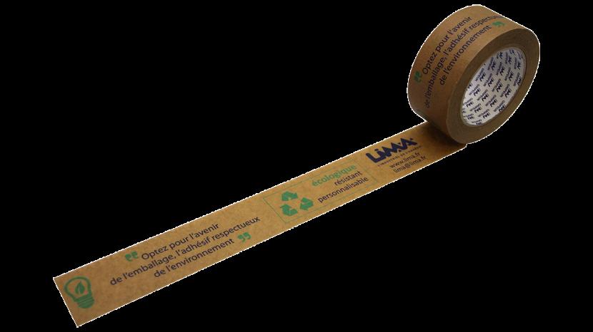 adhésif papier kraft écologique et recyclable imprimé avec des messages et des pictogrammes