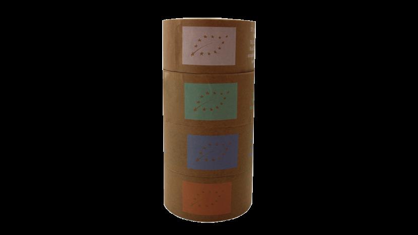adhésif écologique en papier kraft imprimé avec un logo de différentes couleurs